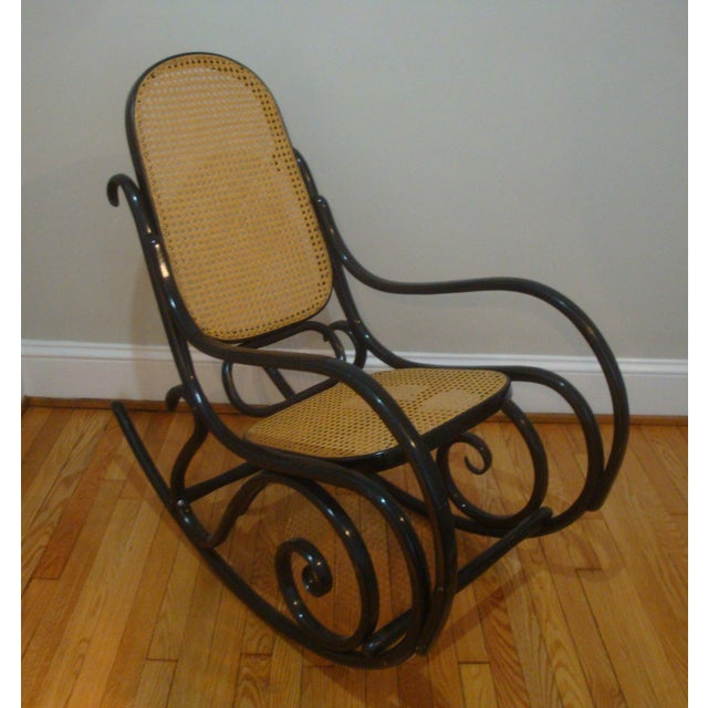Black Authentic Black Thonet Bentwood Cane Rocking Chair Rocker Model No. 10 For Sale - Image 8 of 8