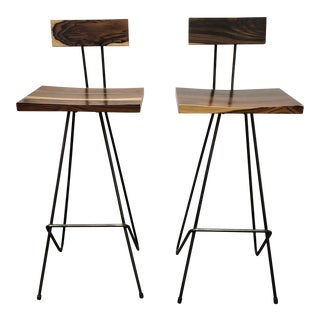 Pair of Bar Height Teak Stools by From the Source For Sale