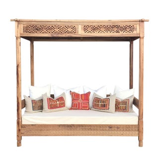 Stunningly Carved Bohemian Canopy Daybed For Sale