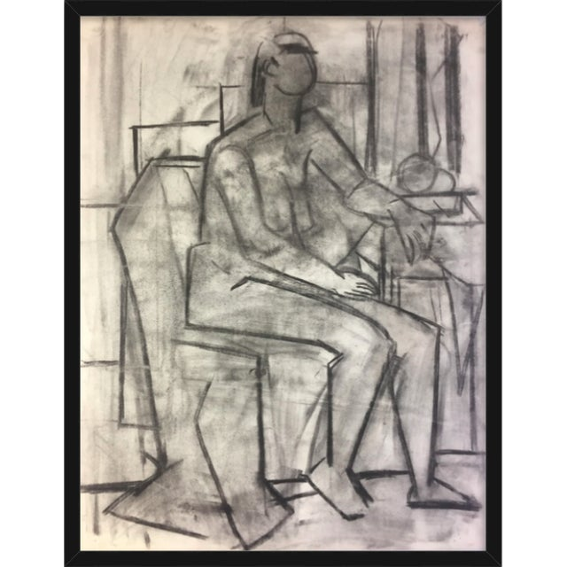 Charcoal 1950's Cubist Charcoal Female Nude Henry Woon Bay Area Artist For Sale - Image 7 of 8