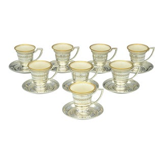 Sterling Demi Cup and Saucer With Lenox Porcelain Liners (Set of 8) For Sale