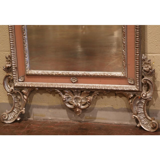 Mid 20th Century Mid-20th Century Italian Carved Silver Leaf Mirror With Painted Coral Trim For Sale - Image 5 of 8
