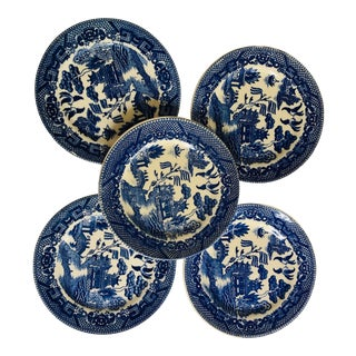 Antique Japanese Blue Willow Bread Plates - Set of 5 For Sale