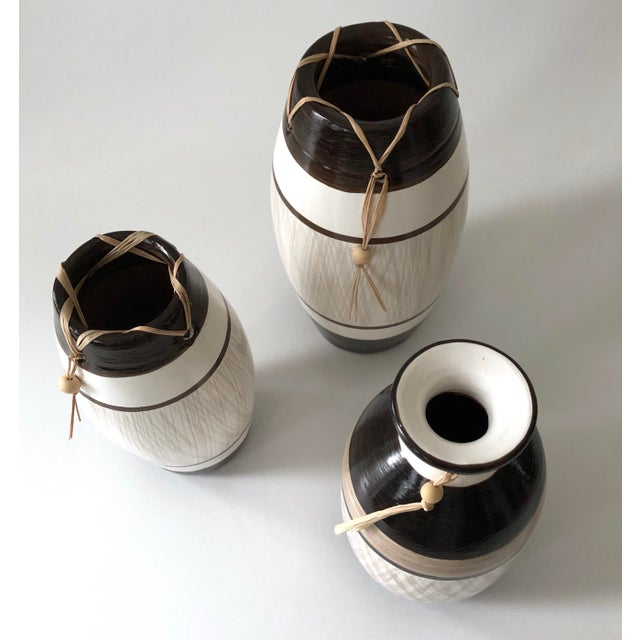 Group of Brazilian Vases With Raffia and Bone Bead Detail For Sale In New York - Image 6 of 12