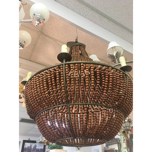 1960s 1960s Mid Century Modern Wood Beaded Chandelier For Sale - Image 5 of 8