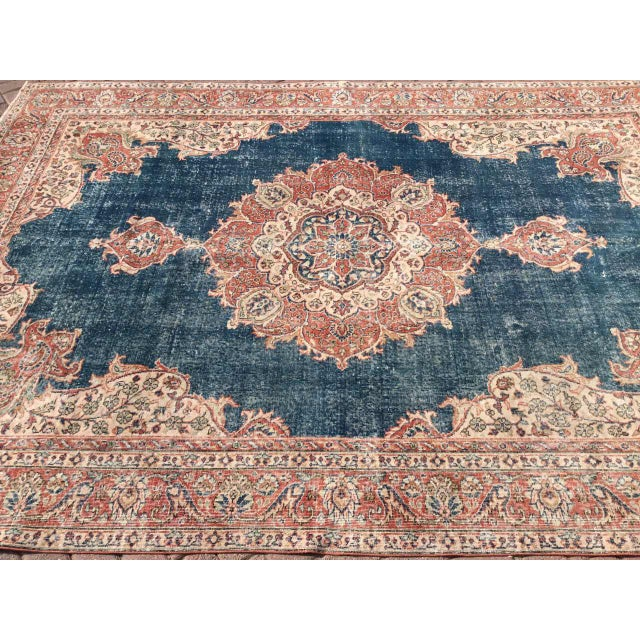 Large Distressed Oushak Rug For Sale - Image 4 of 13