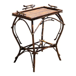 Antique English Bent Bamboo Side Table For Sale
