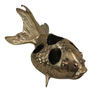 Vintage Japanese Brass Koi Fish Lipstick Holder