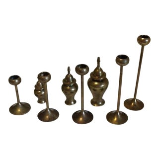 Vintage Brass Tapering Bowl Top Candle Stick Holders & Lidded Jars - 8 Pc. Set