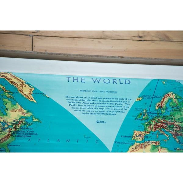 Vintage 60s Costello Pull Down Map of World - Image 3 of 9