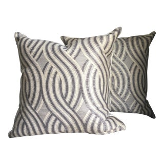 Embrace Pewter Swirl Pillow Covers - a Pair For Sale