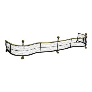 Quality Regency Style Black Iron & Brass Fender For Sale