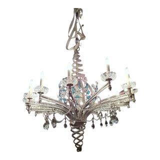 Maison Baguès Big Spectacular Oval 16-Light Silver Leaf Chandelier For Sale