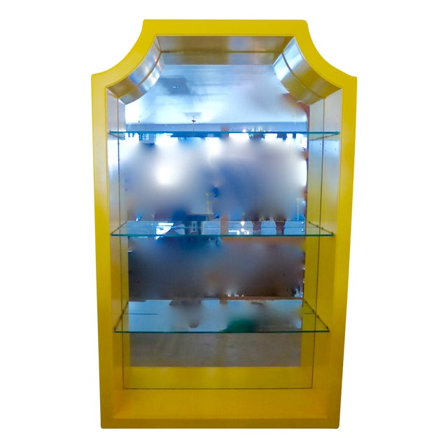 Mirrored Etagere Cabinet Glass Shelves Yellow - Image 1 of 7