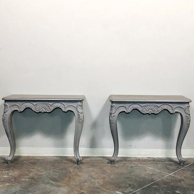 Pair 19th Century French Louis XV Painted Consoles For Sale - Image 4 of 13