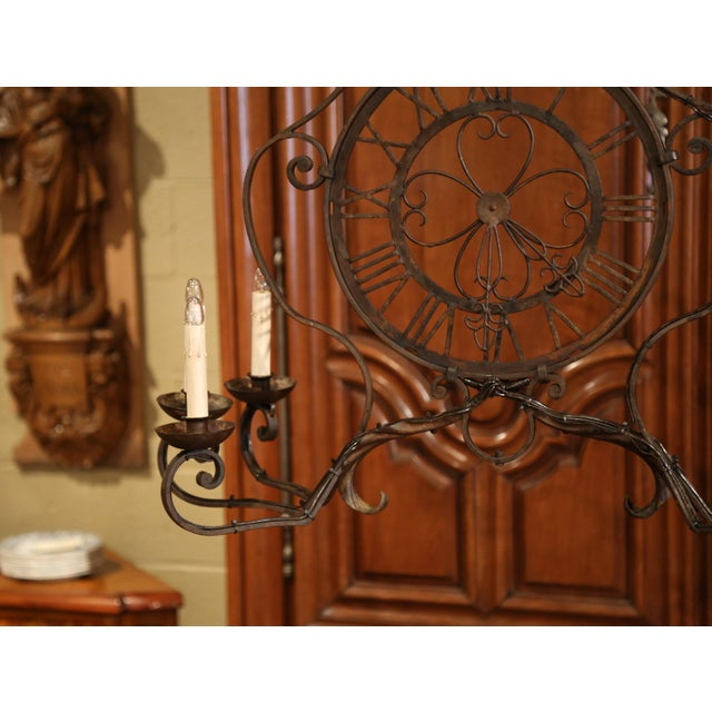 White Early 20th Century French Six-Light Iron Clock Chandelier With Original Finish For Sale - Image 8 of 10