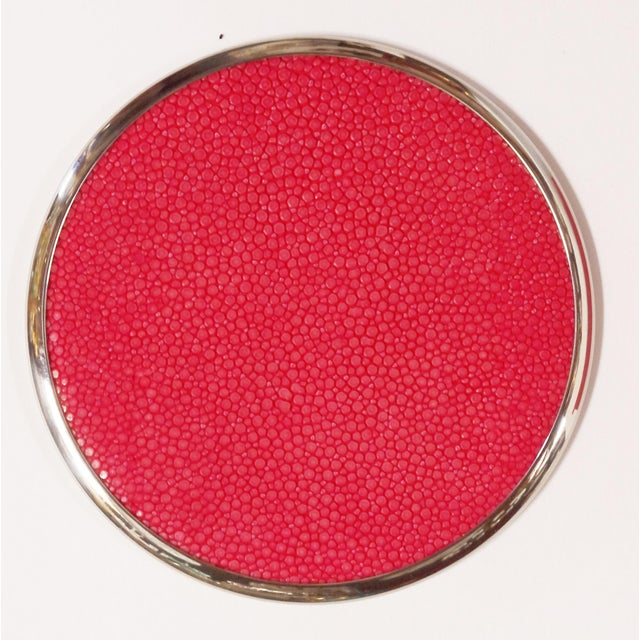 Italian Six-Piece Set of Red Shagreen Coasters by Fabio Ltd For Sale - Image 3 of 5