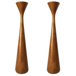 Mid-Century Danish Modern Tall Teak Candlestick Holder by Rude Osolnik, Pair For Sale