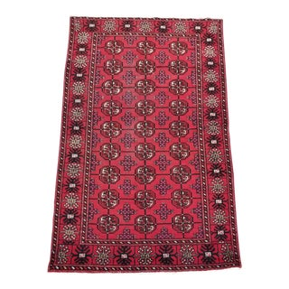 """1950s Vintage Turkaman Persian Rug - 3' 8"""" X 6' 3"""" For Sale"""