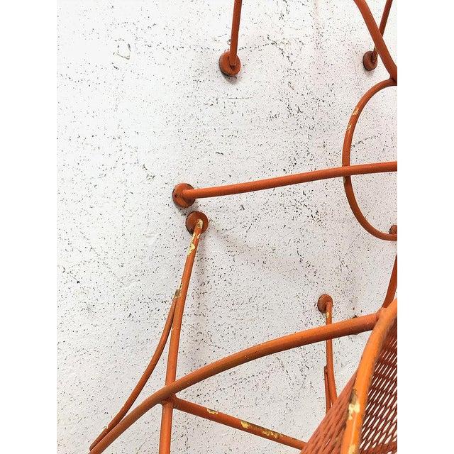 """Metal Set of Three Mid-Century Salterini """"Orange Slice"""" Chairs & Table Orange Metal Patio Set For Sale - Image 7 of 9"""