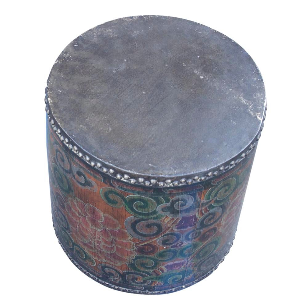 Perfect Rustic Tibetan Drum Side Table   Image 6 Of 6 Images