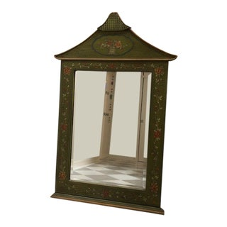 Gumps Asian Inspired Decorative Painted Wood Large Mirror For Sale