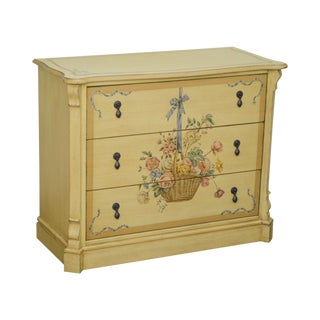 Drexel Heritage Yellow Floral Paint Decorated Chest of Drawers For Sale
