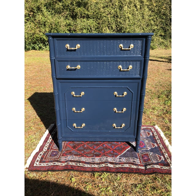 1970s Lacquered Faux Bamboo Broyhill Dresser For Sale - Image 12 of 13