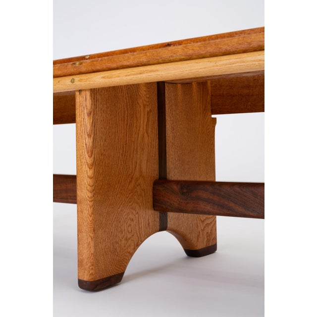 Brass Andrew Stauss Studio Craft Bench in Oak and Walnut For Sale - Image 7 of 12
