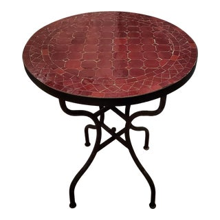 Burgundy Moroccan Mosaic Table For Sale