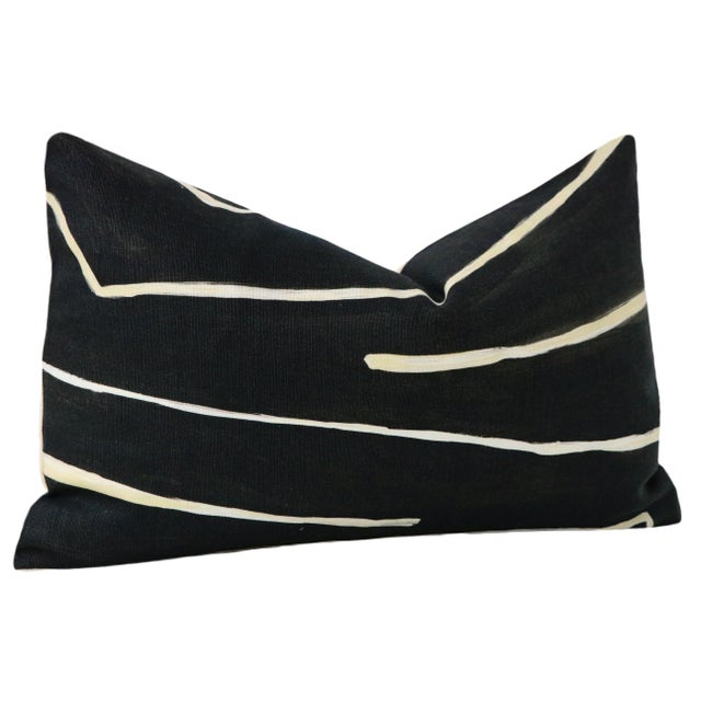 "2010s 12"" X 18"" Graffito Onyx + Beige Lumbar Pillows - a Pair For Sale - Image 5 of 7"