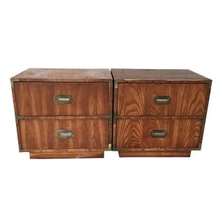 Dickens Campaign Style Wood Nightstands - A Pair