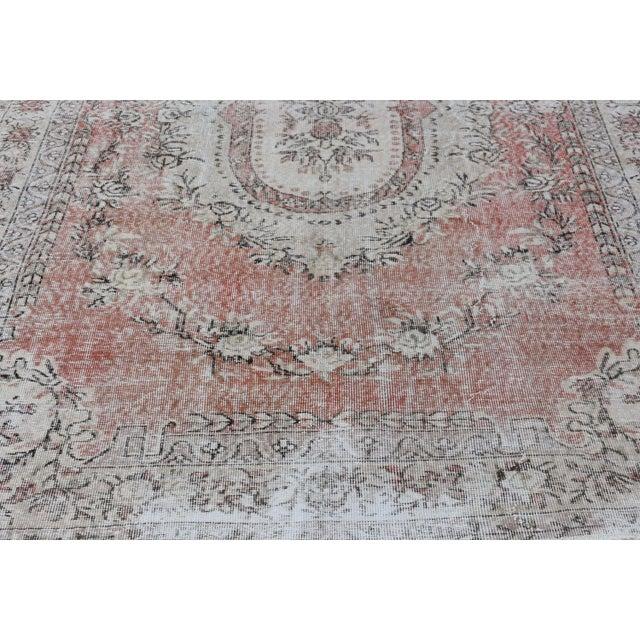 Nomadic Antique Handmade Muted Anatolian Faded Salmon Carpet - 6′9″ × 9′2″ - Image 6 of 10
