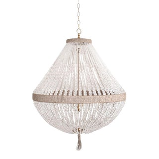 "Orbit 30"" Chandelier - Clear Faceted / Brass / Natural For Sale"