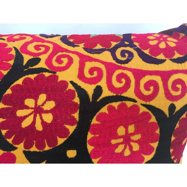 Large Vintage Colorful Suzani Embroidery Throw Pillow For Sale - Image 12 of 13