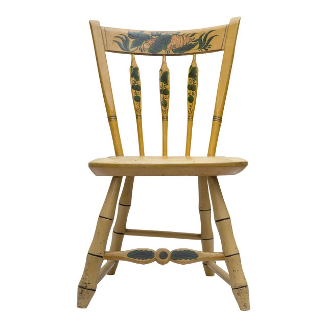 19th Century Carved and Stenciled Childs Chair For Sale