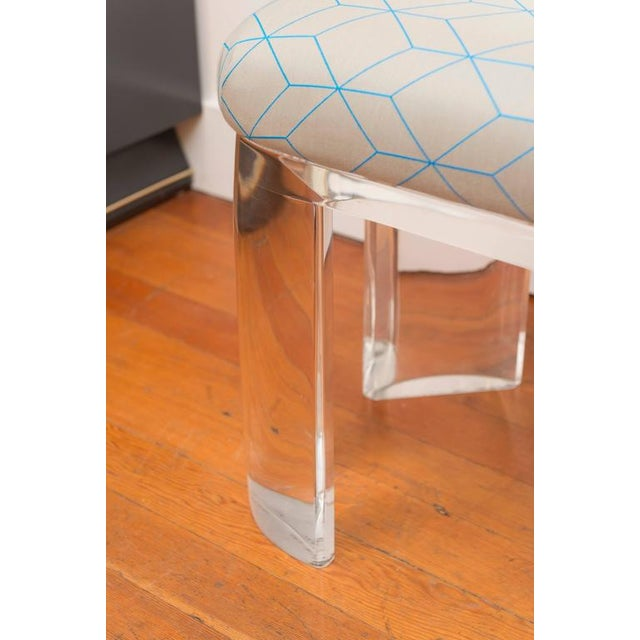 Karl Springer Style Lucite Bench For Sale - Image 5 of 8