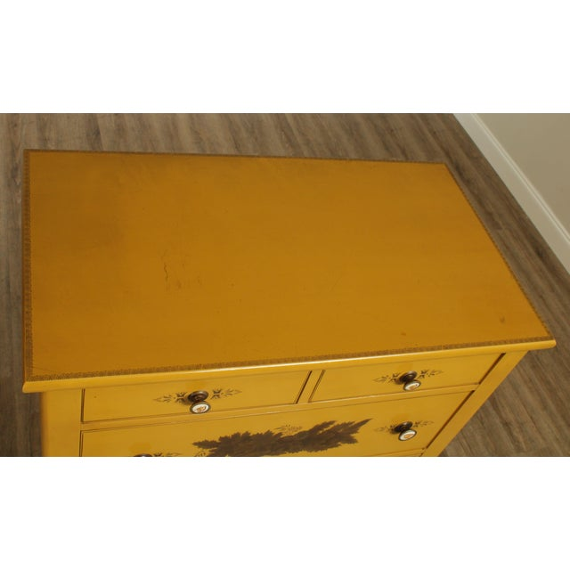 Hitchcock Vintage Yellow Painted Tall Chest of Drawers For Sale - Image 9 of 13