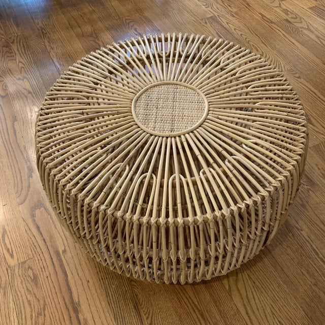 Franco Alibini Style Round Rattan Ottoman Side Table For Sale - Image 12 of 12