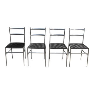 1970's Modern Chrome W/ Black Heavy Plastic Weave Dining Chairs-Set of 4