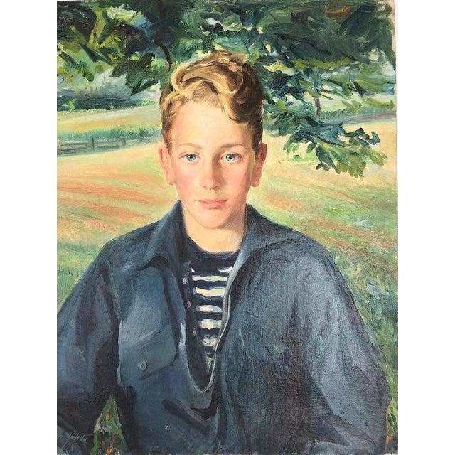 1950s Postimpressionist Signed Portrait of a Boy For Sale - Image 5 of 5