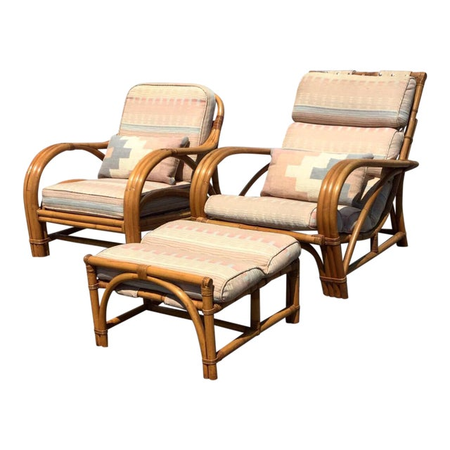 1960s Vintage Bamboo Rattan Lounger Chair & Ottoman Set- 3 Pieces For Sale