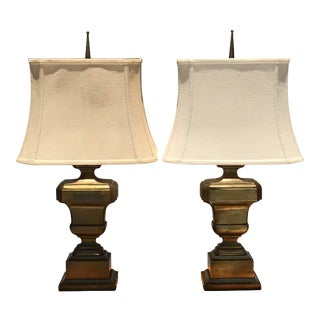 Neoclassical Urn Patinated Brass Lamps - a Pair For Sale