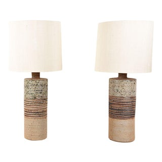 Pair of Danish Mid Century Ceramic Pottery Table Lamps For Sale