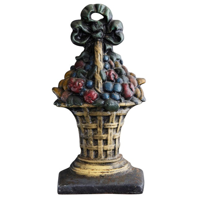 19th Century Large Cast Iron Hand Painted Polychrome Flower Basket Doorstop For Sale - Image 11 of 11