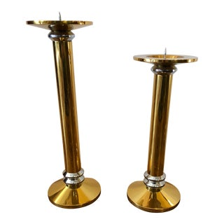 Mid-Century Modern Karl Springer Style Brass and Chrome Candlesticks - a Pair For Sale