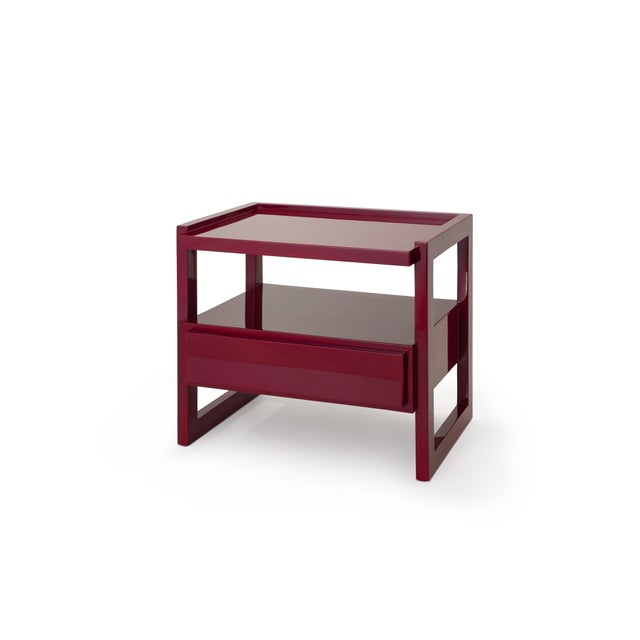 Contemporary Hudson Nightstand in Bordeaux Red - Rita Konig for The Lacquer Company For Sale - Image 3 of 3