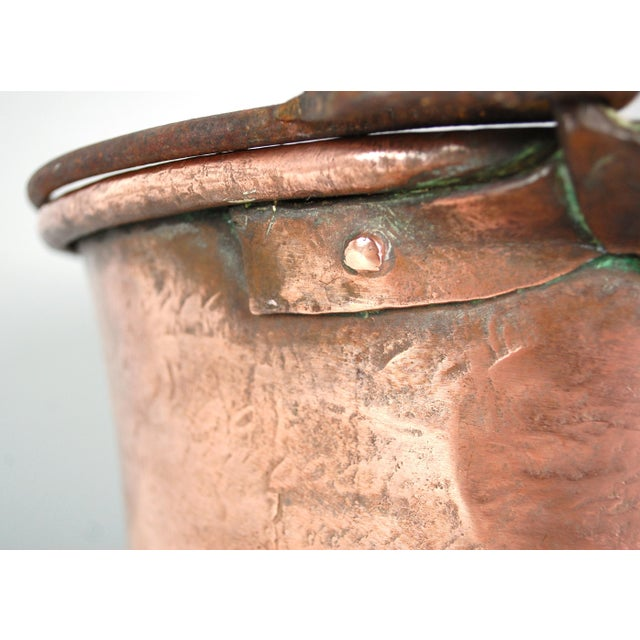 Copper Antique Copper Cauldron Kettle For Sale - Image 7 of 9