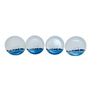 Hand Painted Fishing Reflection Plates - Set of 4 For Sale