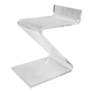 Mid-Century Modern Lucite Z-Shaped Stool For Sale